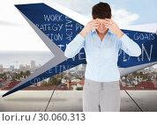 Купить «Composite image of businesswoman with her hands on her forehead», фото № 30060313, снято 10 января 2014 г. (c) Wavebreak Media / Фотобанк Лори