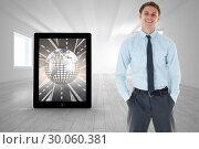 Купить «Composite image of smiling businessman standing with hand in pocket», фото № 30060381, снято 10 января 2014 г. (c) Wavebreak Media / Фотобанк Лори