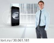 Купить «Composite image of smiling businessman standing with hand in pocket», фото № 30061181, снято 10 января 2014 г. (c) Wavebreak Media / Фотобанк Лори