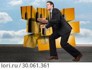 Купить «Composite image of businessman posing with arms outstretched», фото № 30061361, снято 10 января 2014 г. (c) Wavebreak Media / Фотобанк Лори