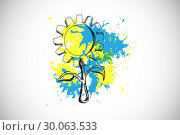 Composite image of sunflower on paint splashes. Стоковое фото, агентство Wavebreak Media / Фотобанк Лори
