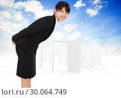 Купить «Composite image of smiling businesswoman bending», фото № 30064749, снято 11 января 2014 г. (c) Wavebreak Media / Фотобанк Лори