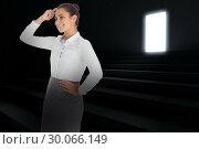 Купить «Composite image of smiling thoughtful businesswoman», фото № 30066149, снято 11 января 2014 г. (c) Wavebreak Media / Фотобанк Лори