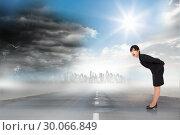 Купить «Composite image of surprised businesswoman bending», фото № 30066849, снято 15 января 2014 г. (c) Wavebreak Media / Фотобанк Лори