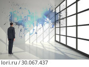 Купить «Composite image of businessman turning his back to camera», фото № 30067437, снято 15 января 2014 г. (c) Wavebreak Media / Фотобанк Лори