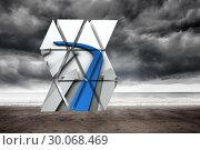 Купить «Composite image of blue arrow on abstract screen », фото № 30068469, снято 30 января 2014 г. (c) Wavebreak Media / Фотобанк Лори
