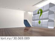 Купить «Composite image of question mark on abstract screen», фото № 30069089, снято 30 января 2014 г. (c) Wavebreak Media / Фотобанк Лори
