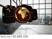 Купить «Composite image of earth on grid on abstract screen», фото № 30069105, снято 30 января 2014 г. (c) Wavebreak Media / Фотобанк Лори