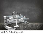 Купить «Composite image of money tree in a curved structure», фото № 30069305, снято 30 января 2014 г. (c) Wavebreak Media / Фотобанк Лори