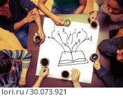 Купить «Composite image of open book doodle on page», фото № 30073921, снято 21 марта 2014 г. (c) Wavebreak Media / Фотобанк Лори