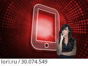 Купить «Composite image of tablet pc and sexy brunette», фото № 30074549, снято 21 марта 2014 г. (c) Wavebreak Media / Фотобанк Лори