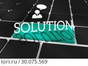 Купить «Solution against black keyboard with blue key», фото № 30075569, снято 22 марта 2014 г. (c) Wavebreak Media / Фотобанк Лори