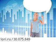 Купить «Composite image of charming woman pointing with speech bubble», фото № 30075849, снято 22 марта 2014 г. (c) Wavebreak Media / Фотобанк Лори