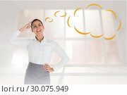 Купить «Composite image of smiling thoughtful businesswoman with speech bubble», фото № 30075949, снято 22 марта 2014 г. (c) Wavebreak Media / Фотобанк Лори