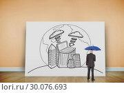 Купить «Composite image of businessman holding umbrella», фото № 30076693, снято 25 марта 2014 г. (c) Wavebreak Media / Фотобанк Лори