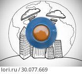Купить «Composite image of blue cup of coffee», фото № 30077669, снято 25 марта 2014 г. (c) Wavebreak Media / Фотобанк Лори