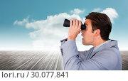 Купить «Composite image of visionary businessman looking to the future», фото № 30077841, снято 25 марта 2014 г. (c) Wavebreak Media / Фотобанк Лори