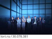 Купить «Business team against blue grid background», фото № 30078381, снято 28 марта 2014 г. (c) Wavebreak Media / Фотобанк Лори