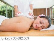 Купить «Smiling woman getting a back massage with herbal compresses», фото № 30082009, снято 9 апреля 2014 г. (c) Wavebreak Media / Фотобанк Лори
