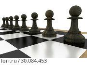 Купить «Black chess pawns on board», фото № 30084453, снято 27 мая 2014 г. (c) Wavebreak Media / Фотобанк Лори