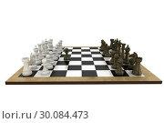 Купить «Chess pieces facing off on board», фото № 30084473, снято 27 мая 2014 г. (c) Wavebreak Media / Фотобанк Лори