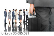 Купить «Composite image of businessman holding briefcase», фото № 30085081, снято 11 июня 2014 г. (c) Wavebreak Media / Фотобанк Лори