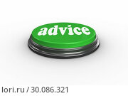 Купить «Advice on digitally generated green push button», фото № 30086321, снято 16 июня 2014 г. (c) Wavebreak Media / Фотобанк Лори