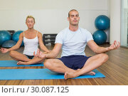 Купить «Couple sitting in lotus posture at fitness studio», фото № 30087125, снято 27 февраля 2014 г. (c) Wavebreak Media / Фотобанк Лори