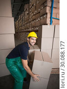Купить «Warehouse worker loading up a pallet », фото № 30088177, снято 10 мая 2014 г. (c) Wavebreak Media / Фотобанк Лори