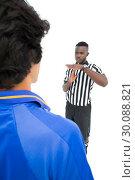 Купить «Serious referee showing time out sign to player», фото № 30088821, снято 24 апреля 2014 г. (c) Wavebreak Media / Фотобанк Лори