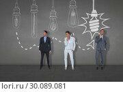 Купить «Composite image of business people standing», фото № 30089081, снято 7 августа 2014 г. (c) Wavebreak Media / Фотобанк Лори