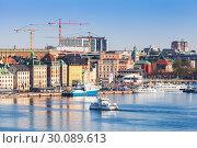 Купить «Gamla Stan and Norrmalm, Stockholm», фото № 30089613, снято 4 мая 2016 г. (c) EugeneSergeev / Фотобанк Лори