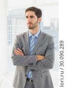 Купить «Businessman thinking about his work», фото № 30090289, снято 6 мая 2014 г. (c) Wavebreak Media / Фотобанк Лори