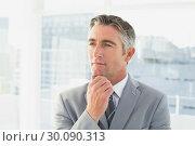 Купить «Businessman thinking about work», фото № 30090313, снято 6 мая 2014 г. (c) Wavebreak Media / Фотобанк Лори