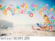 Купить «Composite image of gorgeous blonde in bikini using laptop on the beach», фото № 30091205, снято 22 августа 2014 г. (c) Wavebreak Media / Фотобанк Лори
