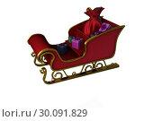 Купить «Red and gold santa sleigh», фото № 30091829, снято 22 августа 2014 г. (c) Wavebreak Media / Фотобанк Лори