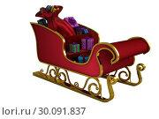 Купить «Red and gold santa sleigh», фото № 30091837, снято 22 августа 2014 г. (c) Wavebreak Media / Фотобанк Лори