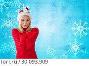 Купить «Composite image of happy festive blonde », фото № 30093909, снято 26 августа 2014 г. (c) Wavebreak Media / Фотобанк Лори
