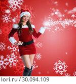 Купить «Composite image of pretty girl in santa costume holding hand out», фото № 30094109, снято 26 августа 2014 г. (c) Wavebreak Media / Фотобанк Лори
