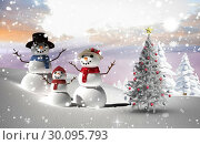 Купить «Composite image of christmas tree and snowmen», фото № 30095793, снято 28 августа 2014 г. (c) Wavebreak Media / Фотобанк Лори