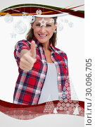 Купить «Composite image of portrait of a blissful woman with the thumb up», фото № 30096705, снято 29 августа 2014 г. (c) Wavebreak Media / Фотобанк Лори