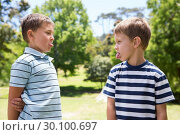 Купить «Little boys having a fight», фото № 30100697, снято 17 ноября 2014 г. (c) Wavebreak Media / Фотобанк Лори