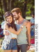 Купить «Hipster couple posing for camera », фото № 30101405, снято 19 ноября 2014 г. (c) Wavebreak Media / Фотобанк Лори