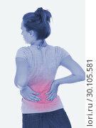 Купить «Young woman suffering from back pain», фото № 30105581, снято 2 августа 2012 г. (c) Wavebreak Media / Фотобанк Лори