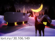 Купить «Snow covered village and rudolph», фото № 30106149, снято 13 января 2015 г. (c) Wavebreak Media / Фотобанк Лори