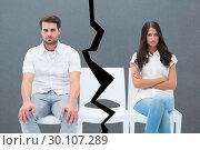 Купить «Composite image of angry couple not talking after argument», фото № 30107289, снято 19 января 2015 г. (c) Wavebreak Media / Фотобанк Лори