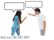 Купить «Composite image of angry couple shouting at each other», фото № 30107397, снято 19 января 2015 г. (c) Wavebreak Media / Фотобанк Лори