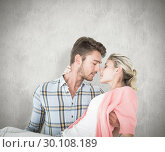 Купить «Composite image of handsome man picking up and hugging his girlfriend», фото № 30108189, снято 21 января 2015 г. (c) Wavebreak Media / Фотобанк Лори