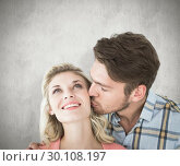 Купить «Composite image of handsome man kissing girlfriend on cheek», фото № 30108197, снято 21 января 2015 г. (c) Wavebreak Media / Фотобанк Лори