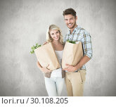 Купить «Composite image of attractive couple holding their grocery bags», фото № 30108205, снято 21 января 2015 г. (c) Wavebreak Media / Фотобанк Лори